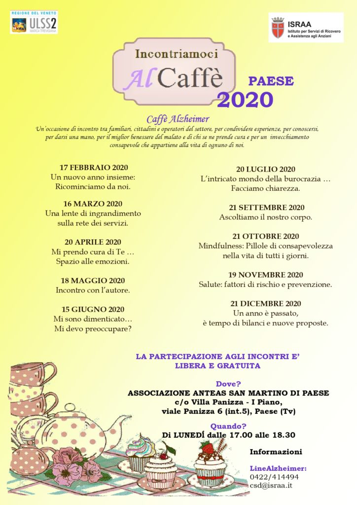 Caffè Alzheimer 2020 - Incontri a Paese presso Anteas Volontari San Martino Paese