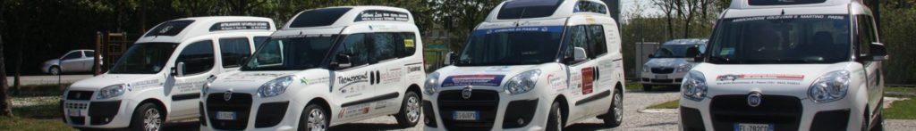 4 Doblò attrezzati con alzacarrozzina che utilizziamo per gli accompagnamenti - Volontari San Martino Paese
